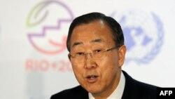 Brazil -- UN Secretary General Ban Ki-Moon speaks during a press conference following the UN Conference on Sustainable Development Rio+20 opening ceremony at RioCentro, in Rio de Janeiro, 20Jun2012