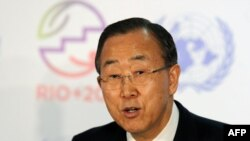 UN Secretary-General Ban Ki-Moon urges world leaders to commit to sustainable development at the Rio+20 summit in Brazil.
