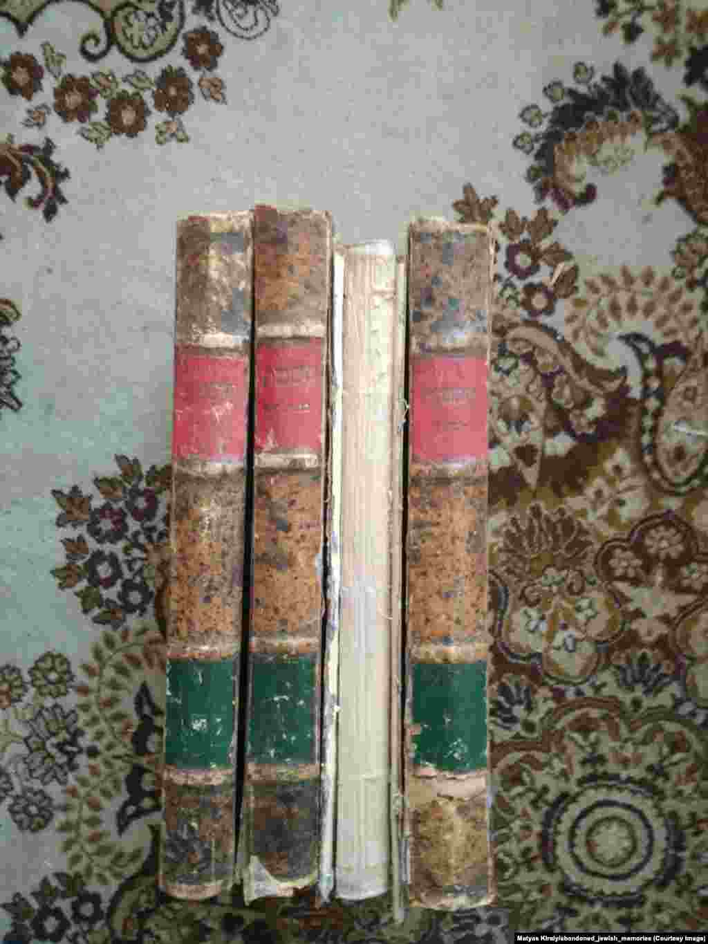 Talmud books that Kiraly found for sale in Moscow. The battered texts were published in 1895.