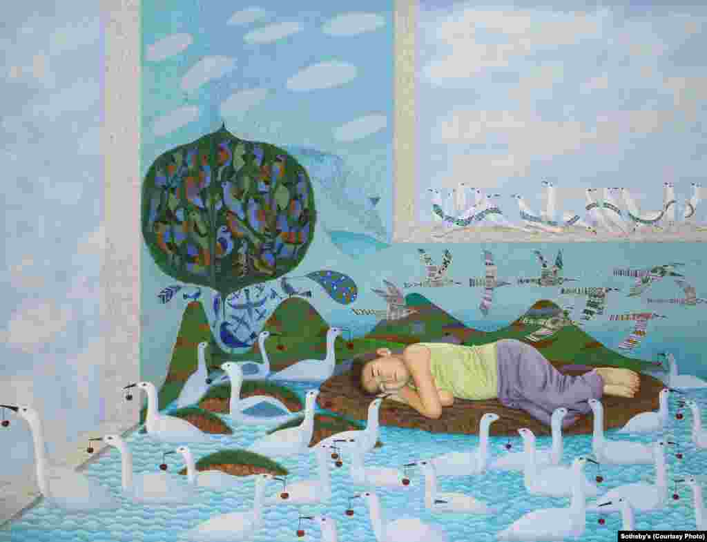 """Untitled (from Dream Series),"" a 2010 work by Uzbek artist Jamol Usmanov (b. 1961). Dreams and other images from Sufi poetry are a recurrent theme in Usmanov's paintings."