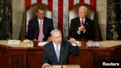 Израилдин премьер-министри Биньямин Нетаньяху АКШ Конгрессинде сүйлөп жатат. 3-март