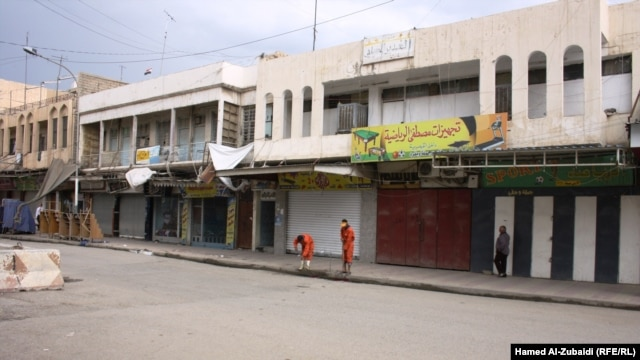 Closed shops in Mosul during the strike
