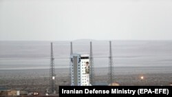 An Iranian rocket prepared to launch a satellite at Imam Khomeini Spaceport in Semnan province, February 9, 2020