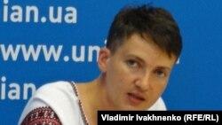 Надежда Савченко на пресс-конференции в агентстве УНИАН в Киеве, 2 августа 2016 года.