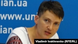 Надежда Савченко на пресс-конференции в агентстве УНИАН в Киеве, 2 августа 2016