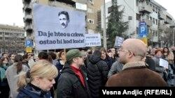 Protest protiv relokacije urne Nikole Tesle iz Muzeja u Hram Svetog Save 2014. godine