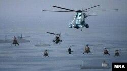 صحنه ای از رزمایش ایران در خلیج فارس با عنوان «رزمایش پیامبر اسلام»