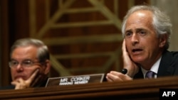 U.S. Senate Foreign Relations Committee ranking member Senator Bob Corker (Republican-Tennessee, right) speaks during a hearing alongside committee Chairman Senator Robert Menendez (Democrat-New Jerseyin Washington on July 9.