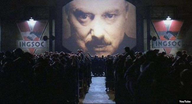 """Кадр из фильма """"1984"""" по одноименному роману-антиутопии Джорджа Оруэлла. Понятие """"мыслепреступление"""" появилось именно в этом романе"""