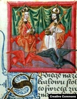 Карл IV и его первая жена, французская принцесса Бланка де Валуа. Из средневековой хроники