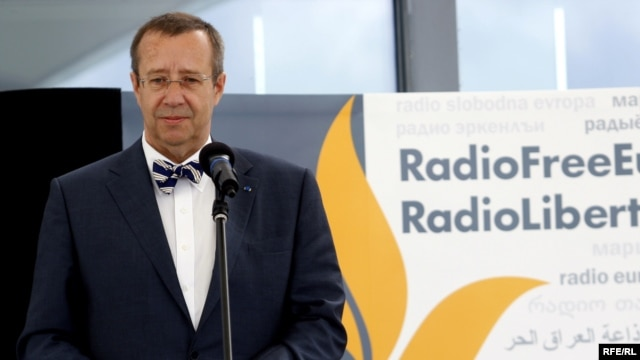 Estonian President Toomas Hendrik Ilves speaks at the opening ceremony for RFE/RL's new broadcast center in Prague.