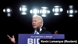 U.S. Democratic presidential candidate Joe Biden Biden also says he does not plan to slash the U.S. defense budget in the face of potential threats from countries such as Russia and China. (file photo)