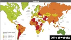 A screenshot of an interactive map of countries rated in the 2013 Index of Economic Freedom.