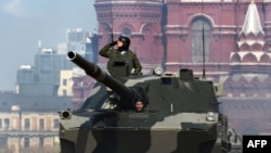 Tanks rolled through Red Square in the Victory Day parade in Moscow.