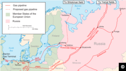 Russian natural gas pipelines in Europe