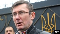 Бывший министр внутренних дел Украины Юрий Луценко общается с журналистами после освобождения из тюрьмы в деревне Макошино, 7 апреля 2013 года.
