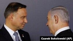 Poljski predsjednik Andržej Duda (lijevo) i izraelski premijer Benjamin Netanyahu (desno) u Varšavi, 13. februara 2019.