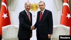 Turkish President Recep Tayyip Erdogan (right) meeting with Joe Biden, then U.S. vice president, in Ankara in August 2016