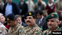 Pakistani army chief General Raheel Sharif (C) participated in a change of command ceremony at NATO's Resolute Support headquarters in Kabul on March 2.