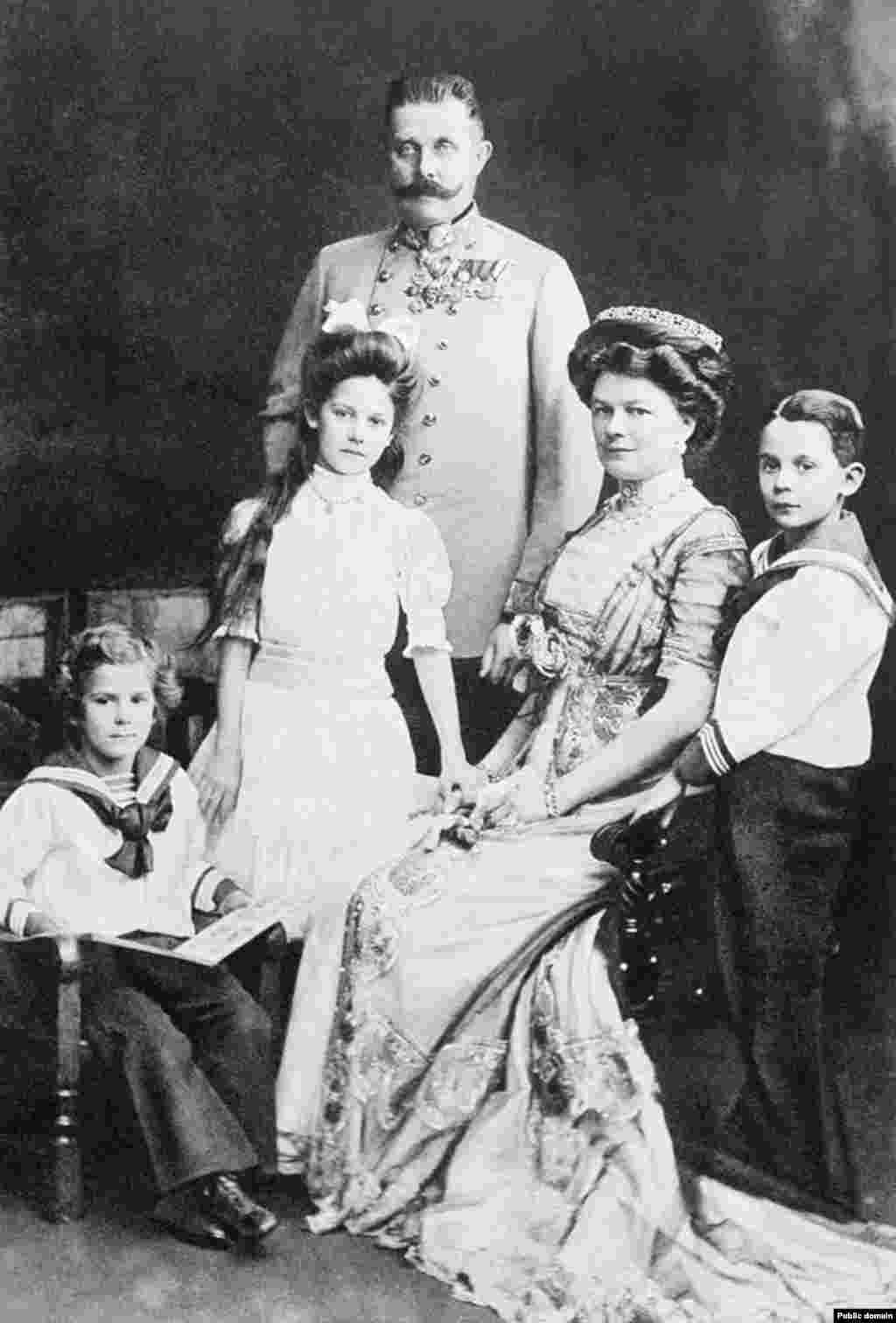 Archduke Franz Ferdinand with his wife Sophie, the Duchess of Hohenberg, and their three children, Princess Sophie, Maximilian, the Duke of Hohenberg, and Prince Ernst von Hohenberg in 1910. On June 28, the archduke was supposed to inspect Austro-Hungarian troops in Sarajevo with his wife. It was their wedding anniversary.