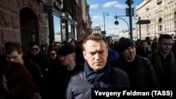 Алексей Навальный на акции протеста в Москве 26 марта