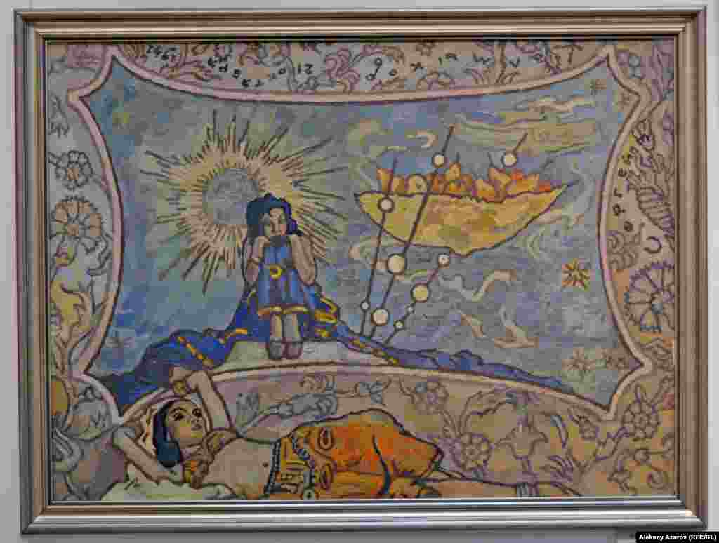 Выставка называется «Звездная чаша» Сергея Калмыкова» неспроста. Тема «чаши», «звездной чаши» в творчестве художника занимает важное место. Она является частью композиции серии работ «Звездная чаша». Одна из картин, написанных в 1941 году, на фото. Она называется «Размышления о звездной чаше». Известно, что образ чаши в сознание Сергея Калмыкова запал в Пасхальные дни 1914 года, когда на крыше Исаакиевского собора в Петербурге он увидел четырех ангелов, держащих огромные чаши со сверкающим в ночи огнем.