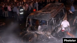 Armenia -- The scene of a traffic collision in Yerevan that killed 4 people and injured 9 others,17May,2011