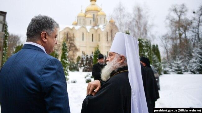 Президент України Петро Порошенко та митрополит Черкаський і Канівський Софроній. Черкаси, 20 листопада 2018 року