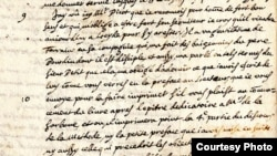 U.S. -- A page from the stolen letter (1641) by Rene Descartes discovered at Haverford College