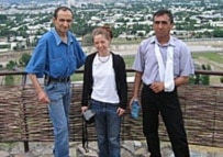 Jamshid Karimov, Elin Jonsson, and Ulugbek Khaidarov (left to right) in Uzbekistan (Courtesy Photo)