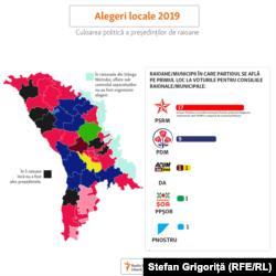 Culoarea politică a președinților de raioane după alegerile locale din noiembrie 2019