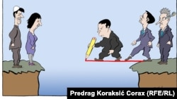 Karikatura Predraga Koraksića Coraxa o briselskom dijalogu