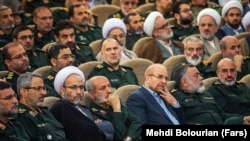 Former IRGC commander Mohammad Baqer Qalibaf (3rd R) alongside other IRGC commanders and officials in the referral ceremony of Hossein Salami, the Commander-in-chief of IRGC on April 24, 2019.