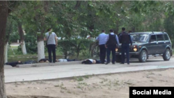 An image from social media purporting to show dead bodies after a shoot-out in Aqtobe on June 5.
