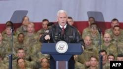 Американскиот потпретседател Мајк Пенс, Баграм, Авганистан. 21.12.2017.