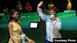 Раушан Қойшыбаеваның медаль алған сәті. Рио-де-Жанейро. 11 қыркүйек 2016 жыл. (Суретті Қазақстан паралимпиада комитеті ұсынды.)