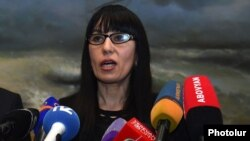 Armenia - Naira Zohrabian, the new leader of the Prosperous Armenia Party, meets the press at the party headquarters in Yerevan, 5Mar2015.