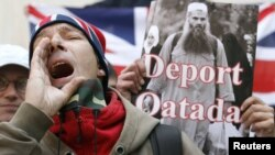 A demonstrator from the far-right English Defence League shouts during a protest calling for the deportation of Jordanian cleric Abu Qatada outside the Home Office in London on April 17.
