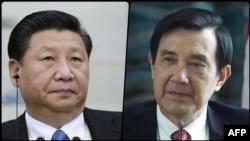 Кіраўнік Тайваня Ма Інцзю (справа) і кіраўнік КНР Сі Цзіньпінь