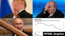 Коллаж: Владимир Путин и график его рейтинга, иллюстрирующий материал агентства Bloomberg