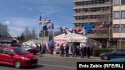 Šator pred Ministarstvom branitelja u Zagrebu, 2015.