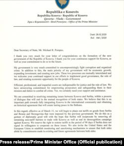 Letra që Kurti i ka shkruar sekretarit Pompeo.