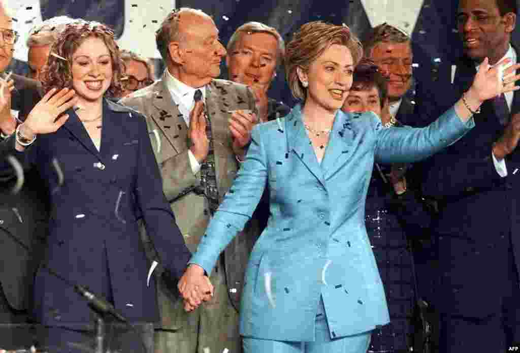 Clinton celebrates her victory in the New York senate race on November 7, 2000. She would win a second senate term in 2006.