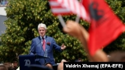 Former U.S. President Bill Clinton speaks during the ceremony in Pristina on June 12.