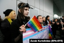 Supporters of the LGBT community in Georgia take part in a rally to mark International Women's Day in Tbilisi on March 8.