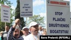 Sa prvomajskog radničkog protesta u Podgorici 2015.
