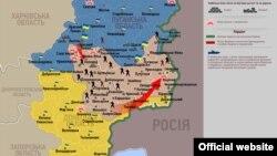Ucraina, harta situației în zona operațiunii antiteroriste, 2 iulie 2014.