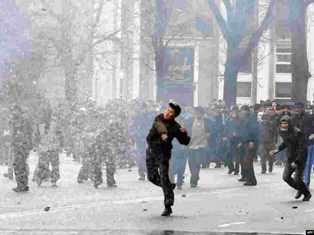 The unrest spread to the capital, Bishkek, the following day, with opposition activists clashing with security forces. The protests were fueled by public anger at widespread corruption and a crackdown on opposition politicians.