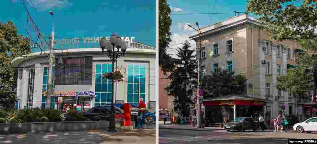 Міський ЦУМу має оновлений фасад.Дерева біля готелю «Україна» витягнулися і затінюють його стіни