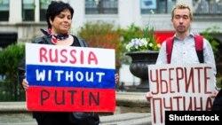Протест против президента России Владимира Путина на Юнион-сквер в Нью-Йорке, 2018 год